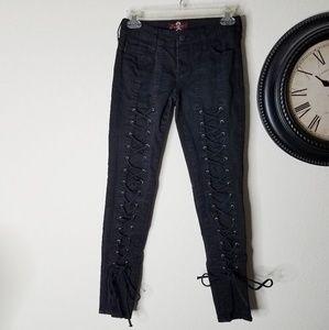 Royal Bones Hot Topic Lace Up Front Corset Pants 3